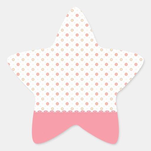 Pequeñas flores rosadas lindas con la raya rosada pegatina en forma de estrella