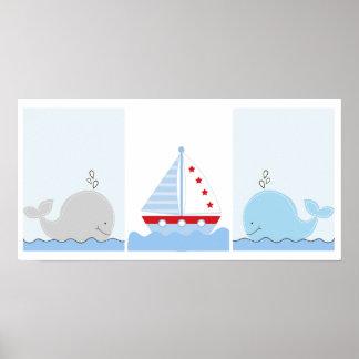 Pequeñas impresiones del arte de la ballena azul y
