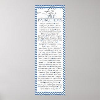 Pequeñas instrucciones de Lifes (azules marinos) Póster