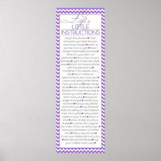 Pequeñas instrucciones de Lifes (lila) Posters