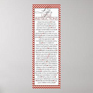 Pequeñas instrucciones de Lifes (rojas) Póster