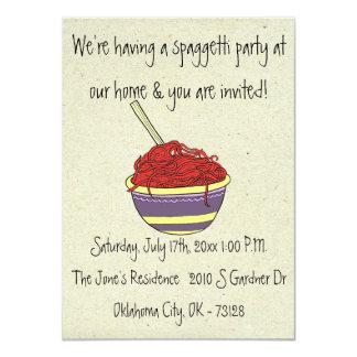 """pequeñas invitaciones del fiesta del spagetti de invitación 4.5"""" x 6.25"""""""
