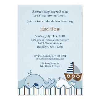 Pequeñas invitaciones náuticas de la fiesta de comunicados personalizados