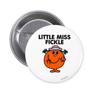 Pequeñas letras negras de Srta. Fickle el | Chapa Redonda 5 Cm