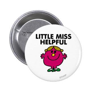Pequeñas letras negras de Srta. Helpful el | Chapa Redonda 5 Cm