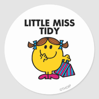 Pequeñas letras negras de Srta. Tidy el   Pegatina Redonda