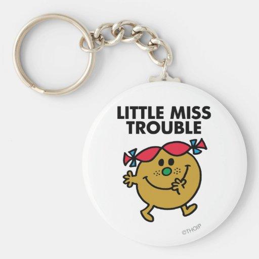 Pequeñas letras negras de Srta. Trouble el   Llavero Redondo Tipo Pin