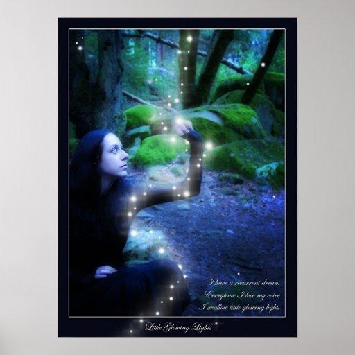 Pequeñas luces que brillan intensamente póster