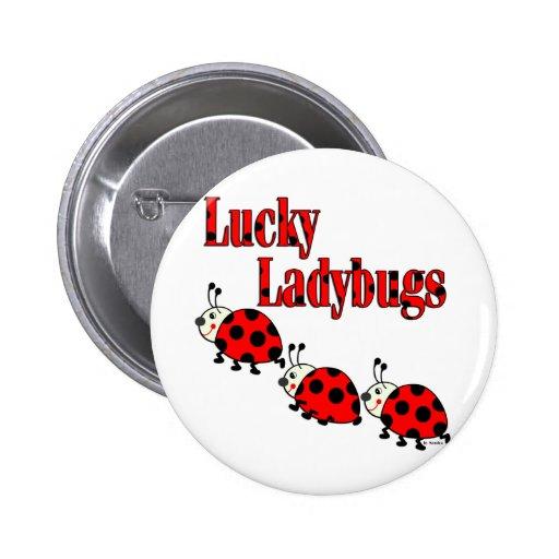 Pequeñas mariquitas afortunadas pin redondo 5 cm