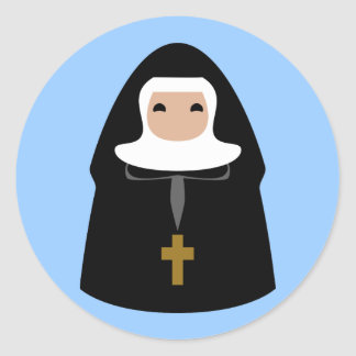 Pequeñas monjas lindas etiqueta redonda