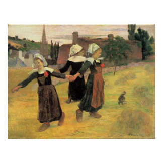 Pequeñas mujeres bretonas de Eugène Enrique Paul Póster