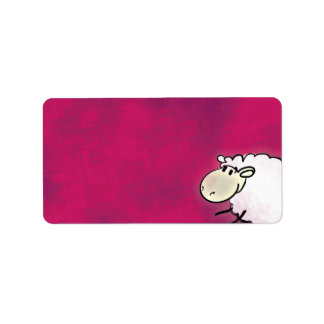 pequeñas ovejas lindas en rosa oscuro etiqueta de dirección