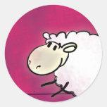 pequeñas ovejas lindas pegatina redonda