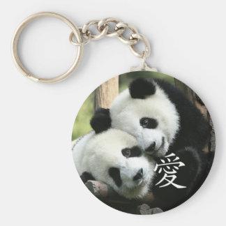 Pequeñas pandas gigantes cariñosas chinas llavero redondo tipo pin