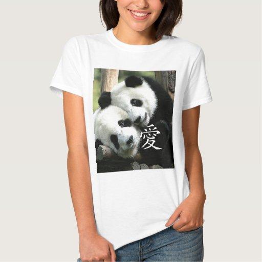 Pequeñas pandas gigantes cariñosas chinas poleras