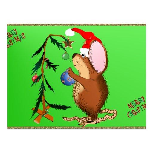 Pequeñas postales del ratón del navidad