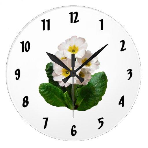 Pequeñas primaveras blancas reloj redondo grande