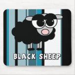 Pequeñas rayas azules lindas de las ovejas negras alfombrilla de ratón