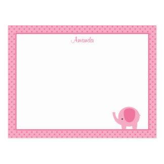 Pequeñas tarjetas de nota planas del elefante rosa