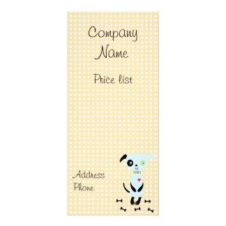 Pequeñas tarjetas de precio azules lindas del perr lonas