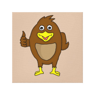 Pequeñas tarjetas marrones del diseño del pájaro y impresión en lienzo