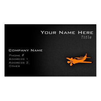 Pequeño aeroplano anaranjado tarjetas de visita