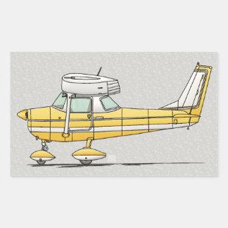 Pequeño aeroplano lindo pegatina rectangular