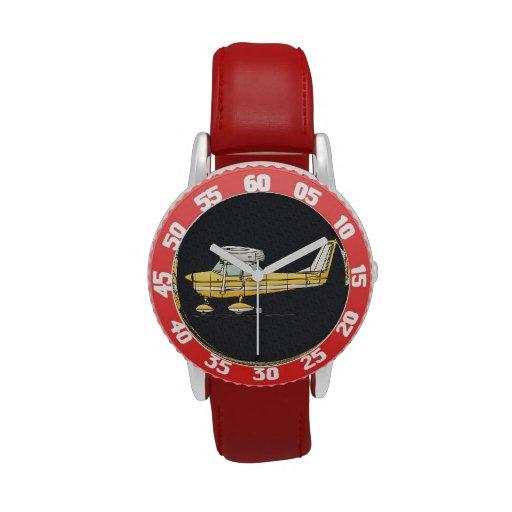 Pequeño aeroplano lindo relojes de pulsera