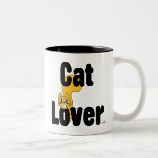 Pequeño amante sonriente tonto del gato del gato taza dos tonos