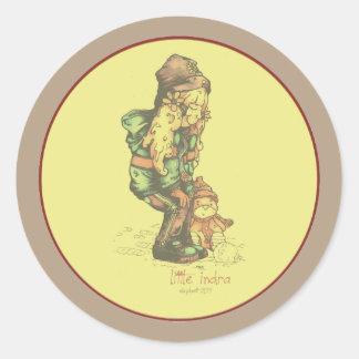 pequeño amarillo del vintage de INDRA Pegatina Redonda