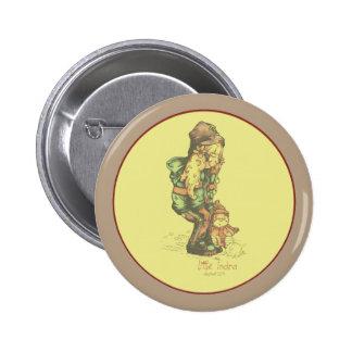 pequeño amarillo del vintage de INDRA Pin Redondo De 2 Pulgadas