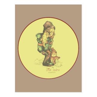 pequeño amarillo del vintage de INDRA Postales