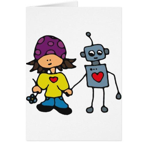 Pequeño amor del chica y del robot del patinador tarjeta de felicitación