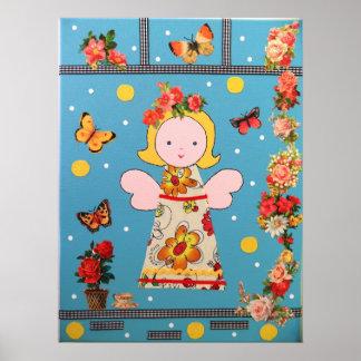 pequeño ángel divertido, azul, muchas flores y col póster