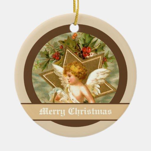 Pequeño ángel lindo y estrella del navidad del adorno navideño redondo de cerámica