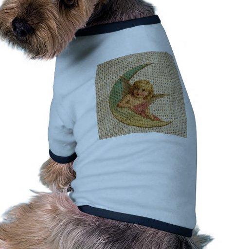 Pequeño ángulo y la luna camiseta con mangas para perro