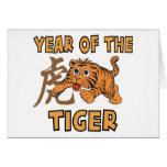 Pequeño año lindo del tigre tarjeton