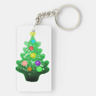 Pequeño árbol de navidad lindo llavero rectangular acrílico a doble cara