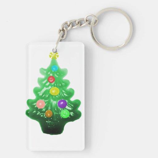 Pequeño árbol de navidad lindo llaveros