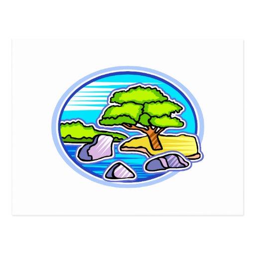pequeño árbol por los bonsais del agua como diseño tarjetas postales