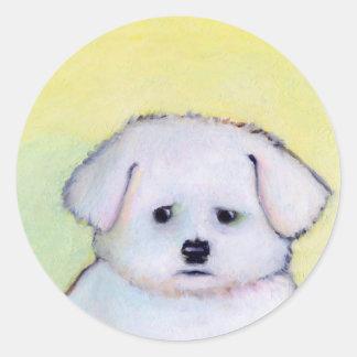 Pequeño arte blanco del perro que dibuja el pegatina redonda