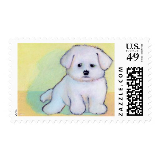 Pequeño arte blanco del perro que dibuja el sellos