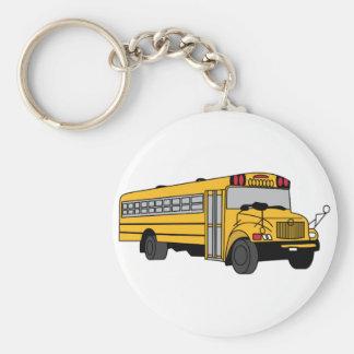 Pequeño autobús escolar llavero redondo tipo pin
