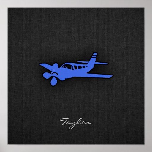 Pequeño avión del azul real poster