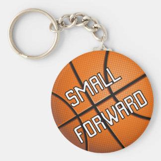 Pequeño baloncesto delantero llavero redondo tipo pin