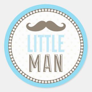 Pequeño bebé del bigote del hombre pegatina redonda
