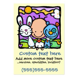 Pequeño bebé y su poca tarjeta del Mascota-Cuidado Tarjetas De Visita Grandes
