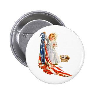 Pequeño Betsy Ross y la bandera de América Pin Redondo 5 Cm
