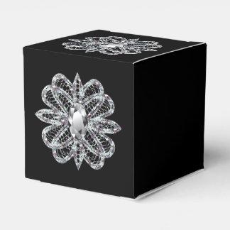 Pequeño Black Box elegante con el ornamento del Caja Para Regalos
