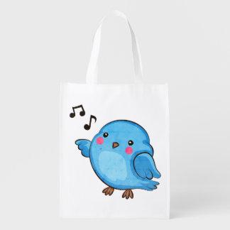 Pequeño Bluebird gordo - arte lindo del pájaro Bolsas De La Compra